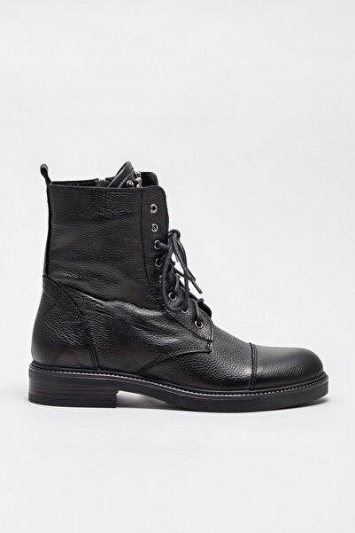 Elle Shoes MARESAA Hakiki Deri Siyah Kadın Bot