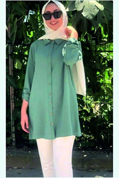 Gulumse Kadın Yeşil Büyük Beden Gömlek