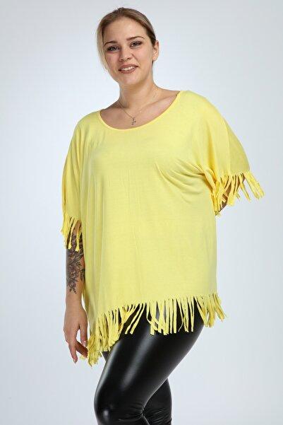 Big Free Kadın Sarı Püskül Detaylı Sırt V Yaka Dekolteli Bluz Tb20Yb455021