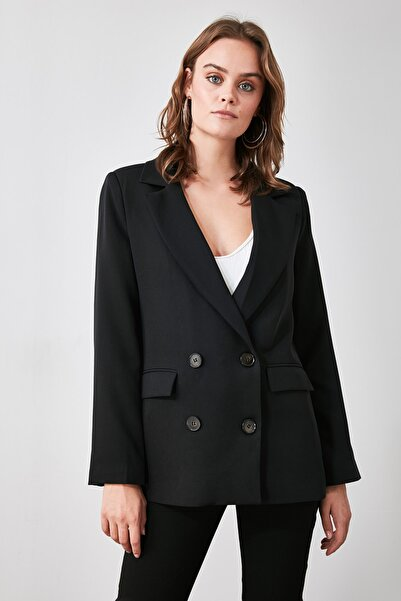 TRENDYOLMİLLA Siyah Düğmeli Blazer Ceket TWOAW21CE0272