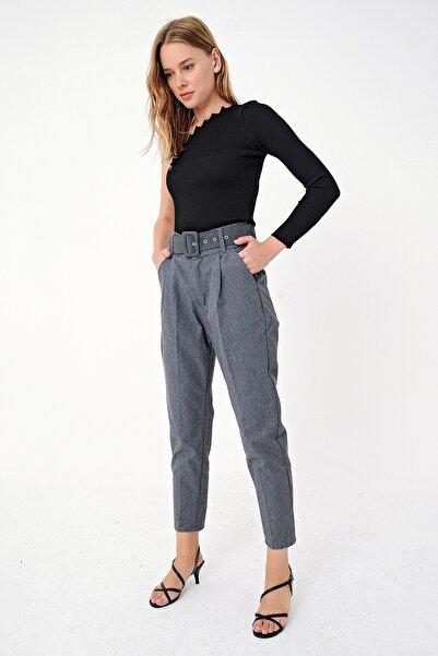 Trend Alaçatı Stili Kadın Antrasit Kemerli Yüksel Bel Gabardın Pantolon ALC-X5005