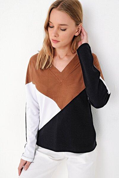 Trend Alaçatı Stili Kadın Taba V Yaka Süet Bloklu Sweatshırt ALC-017-183-MDS-RW1