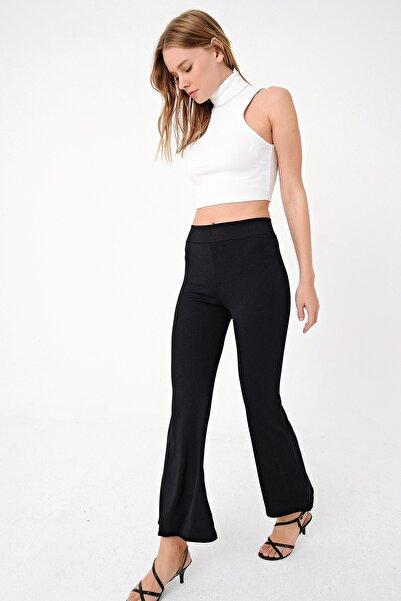 Trend Alaçatı Stili Kadın Siyah Yüksek Bel İspanyol Paça Likralı Tayt Pantolon ALC-X5003