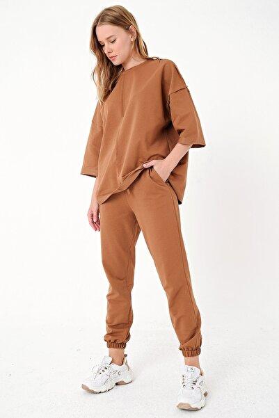 Trend Alaçatı Stili Kadın Tarçın Önü Dikişli Eşofman Takımı ALC-X4925