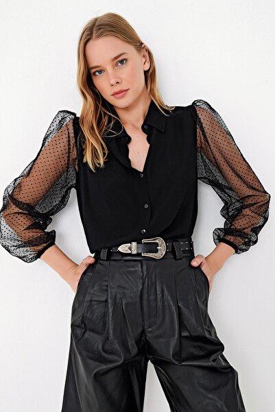 Trend Alaçatı Stili Kadın Siyah Prenses Kolu Dantelli Dokuma Gömlek DNZ-3212-RW1