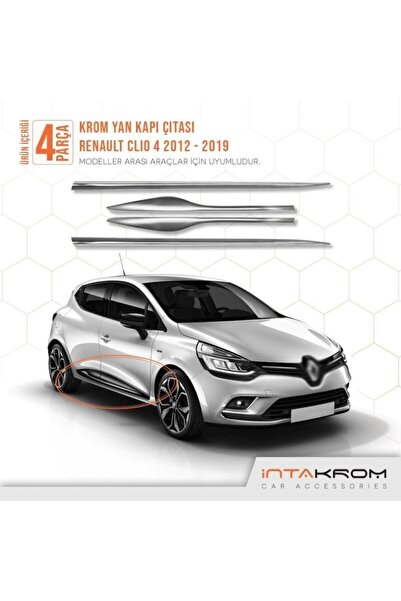 İntachrom Renault Clio 4 Krom Yan Kapı Çıtası 4 Parça 2012-2019 - Hb-sw