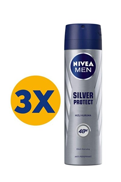 Nivea Silver Protect Sprey Deodorant 150 Ml X 3