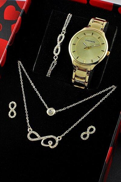 6 Parça Bayan Kol Saati Takı Seti Kolye Küpe Bileklik Set