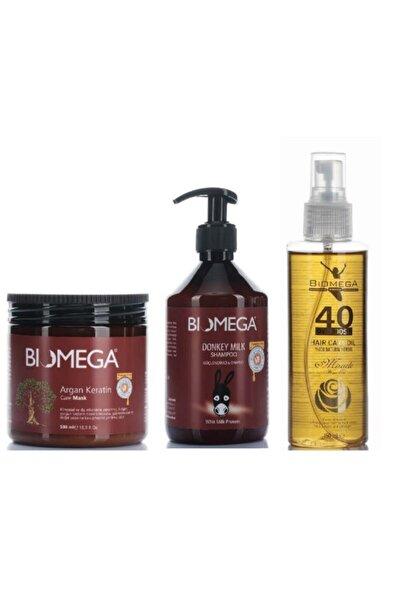 BIOMEGA Argan Keratin Maske 500 Ml+40 Bitkili Bakım Yağı 150 Ml+sülfatsız Eşek Sütü Şampuanı 500 Ml