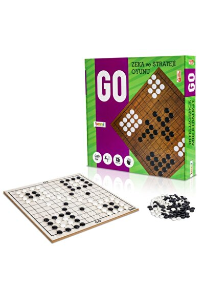 BEMİ Lüks Ahşap Doğal Go Oyunu - Beceri Eğitici Zeka Strateji Çocuk Ve Aile Oyunu