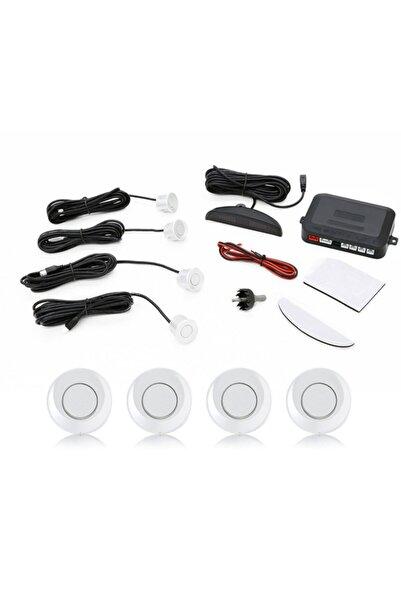 Techmaster Dijital Ekranlı Araç Park Sensörü Ses Ikazlı 4 Sensörlü Beyaz