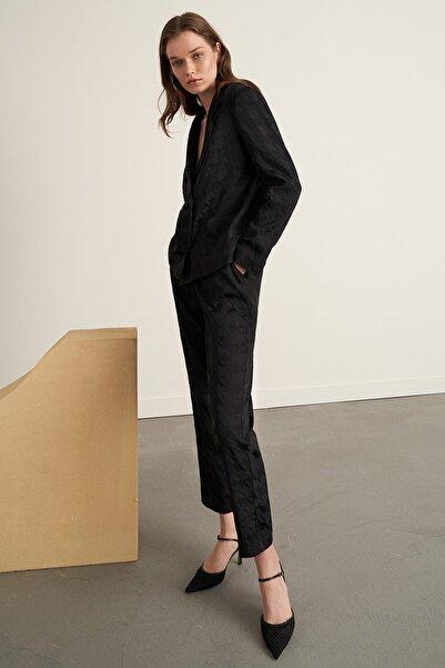 Nocturne Kadın Siyah Kazayağı Desenli Pantolon N21K-3327-0002