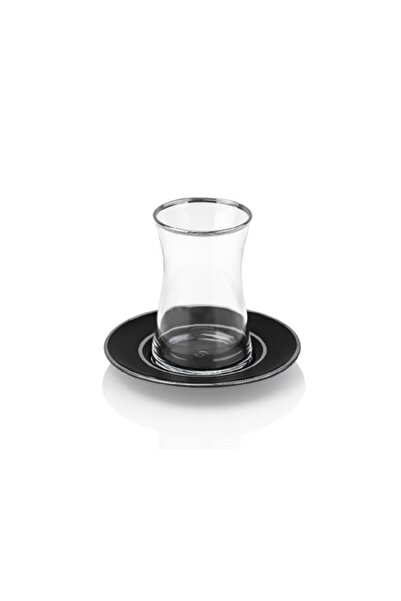 Taç Siyah Lilya 6 Kişilik Çay Seti 6029