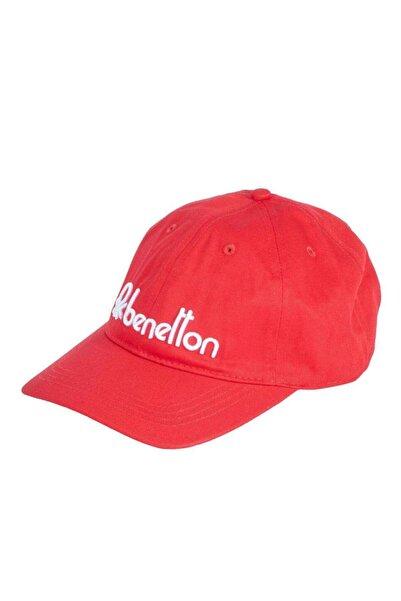 United Colors of Benetton Erkek Kırmızı Benetton Logolu Şapka