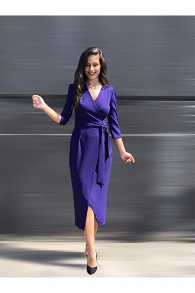 AYHAN Kadın Çivit Mor Kruvaze Elbise