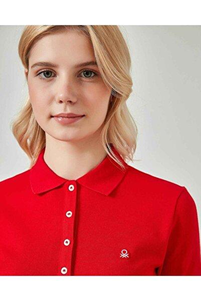 United Colors of Benetton Kadın Kırmızı Basic Kısa Kollu Polo T-shirt