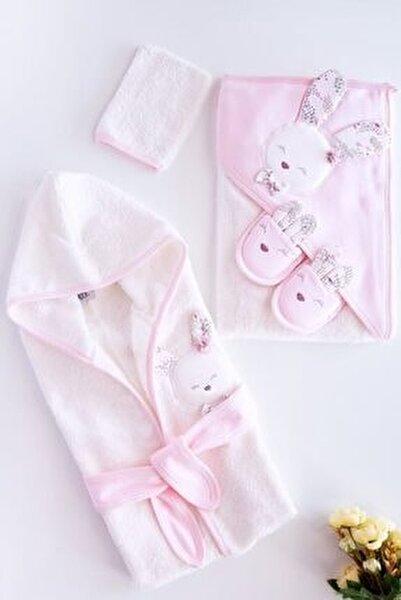 Kız Bebek Pembe  Pamuklu Bornoz Takımı