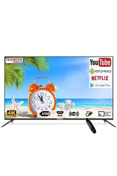 """TELENOVA 75s4k8001/20 75"""" (190cm) 4k Uhd Dahili Uydu Alıcılı Android Smart Tv"""