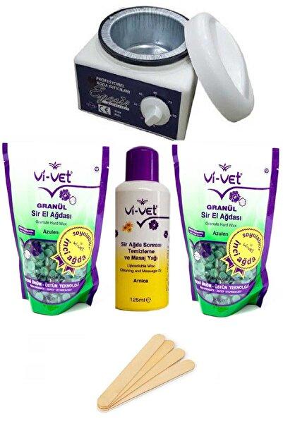 Vi-vet Azulen Soyulabilir Ağda Seti, Makine, 2 Granül Boncuk Ağda, Ağda Yağı