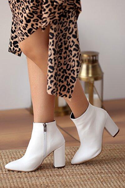Pembe Potin Kadın Beyaz Bot