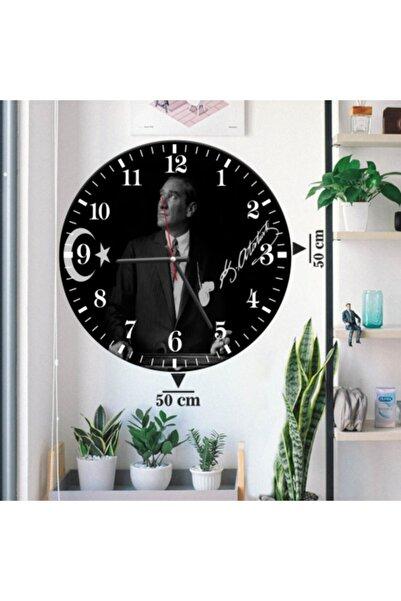 Zevahir Mobilya Dekorasyon Zevahir Duvar Saati Dev Boy Atatürk Imzalı 50x50 Mdf