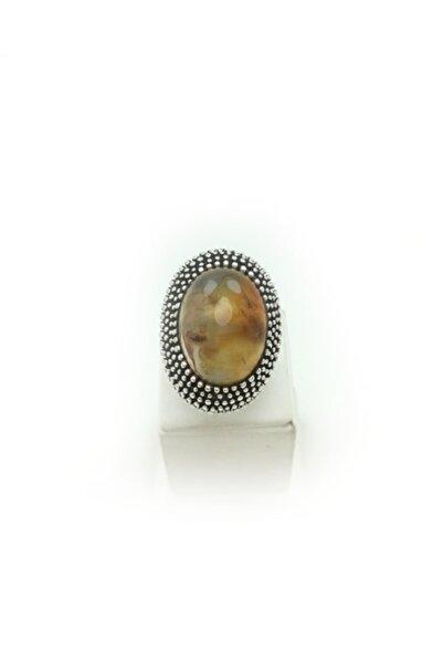 Bridalaischa Akik Oval Doğal Taşlı Gümüş Yüzük