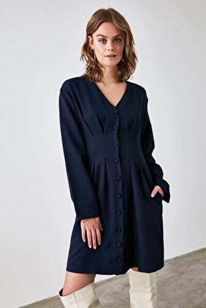 Lacivert Düğmeli Elbise TWOAW21EL1914