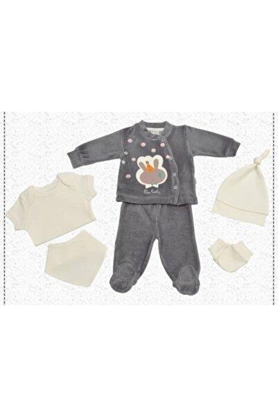 Pierre Cardin Baby Pierre Cardin Kız Bebek Füme Kadife Yenidoğan 6'lı Hastane Çıkışı