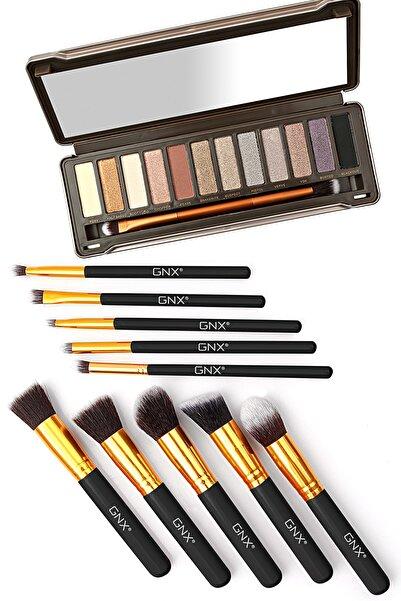 GNX 10 Pcs Brush Set - 10'lu Fırça Seti (siyah) + 12'li Profesyonel Göz Farı Paleti Hediye