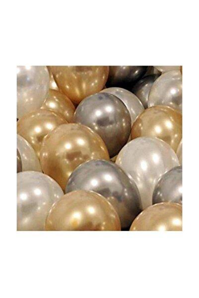 Parti dolabı 30 Adet Metalik Sedefli Gold-gümüş Gri-beyaz Balon, Helyumla Uçan