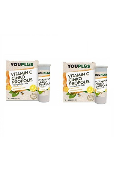 Youplus You Plus Vitamin C Çinko Propolis 20 Efervesan Tablet 2 Paket Skt:06/22