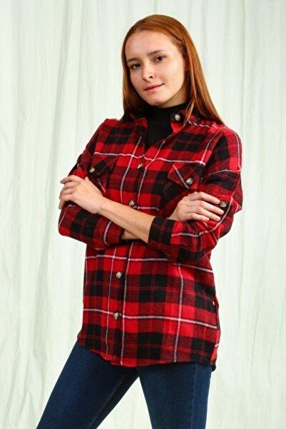 Collezione Timas Kadın Kırmızı Ekose Oduncu Gömlek Ucb540818