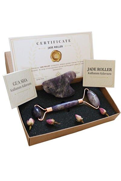 Seay Ametist Jade Roller & Kalp Guasha Yüz Masaj Taşı Gençleştirici Premium