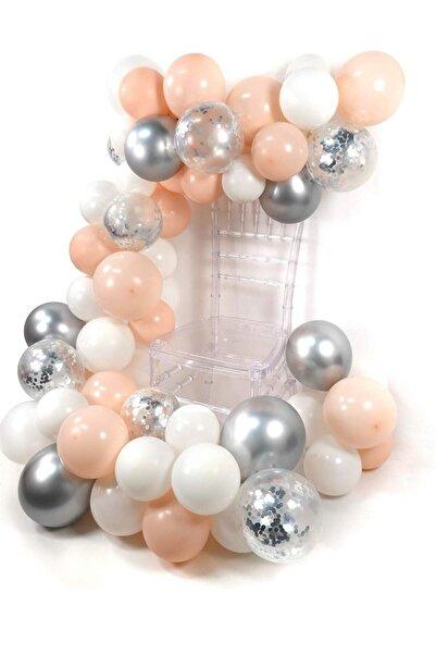 Partifabrik Zincir Balon 5 Metre Somon Beyaz Gümüş Renk