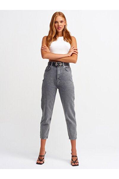 Dilvin Kadın Gri Yüksel Bel  Mom Pantolon