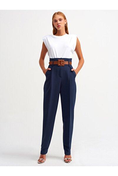 Dilvin Kadın Lacivert Kemerli Yüksek Bel Pantolon