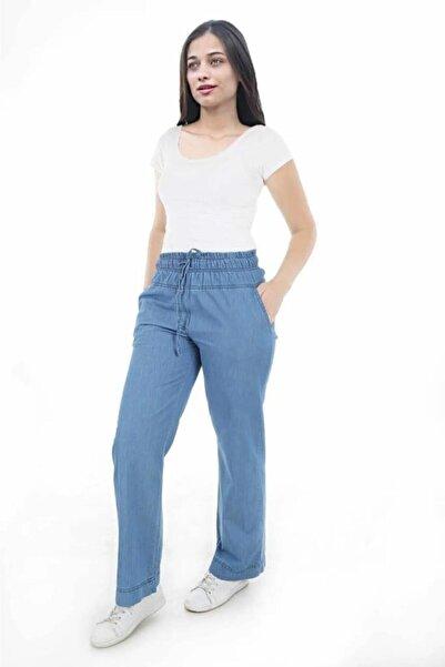 Bigdart Kadın Mavi Bel Lastik Bol Kot Pantolon 6452