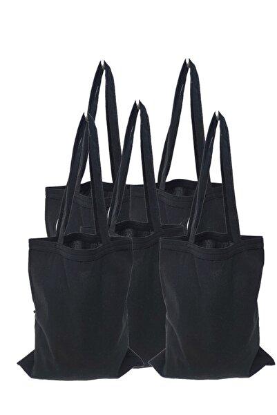 serkan çanta Kulplu Siyah Baskısız Bez Çanta 5 Adet
