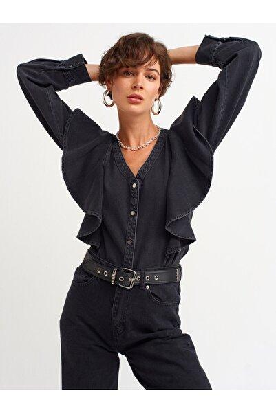 Dilvin Kadın Siyah Volanlı Gömlek 5277