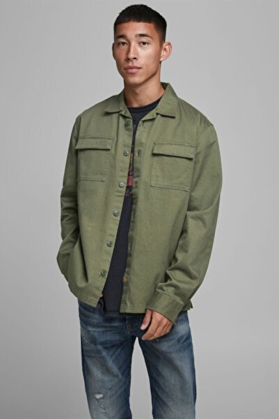 Jack & Jones Erkek Haki Yeşil İnce Oversize Ceket Gömlek 12173369