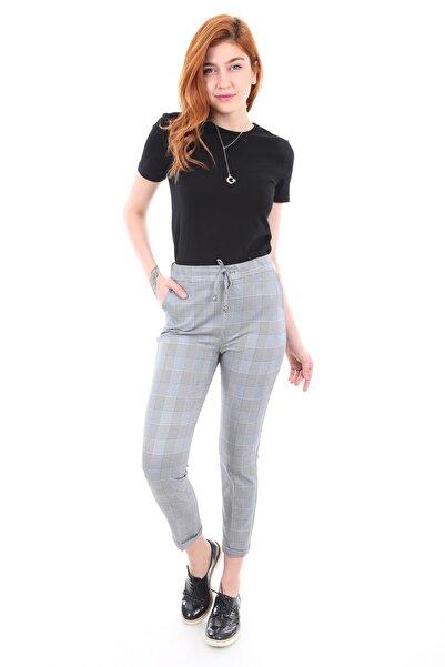 Bigdart Kadın Gri Bel Lastik Desenli Pantolon 6410