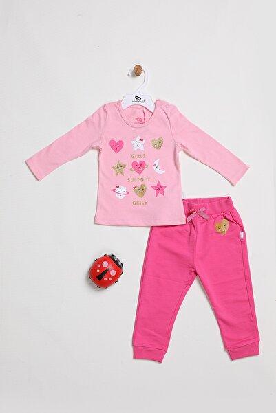 Wonder Kıds Kız Bebek Pembe Pamuklu Yıldız Baskılı Eşofman Takımı
