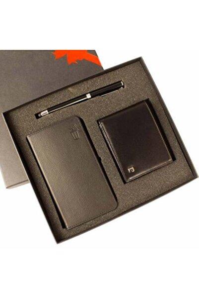 Pierre Cardin Siyah Deri Cüzdan Kalem ve Defter Seti P075