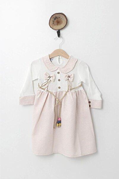 Armina Shop Kız Bebek Pudra Yakalı Kemerli Elbise