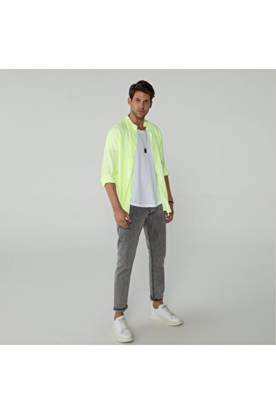 BREEZY Erkek Neon Sarı İnce Çizgili Gömlek 20102013
