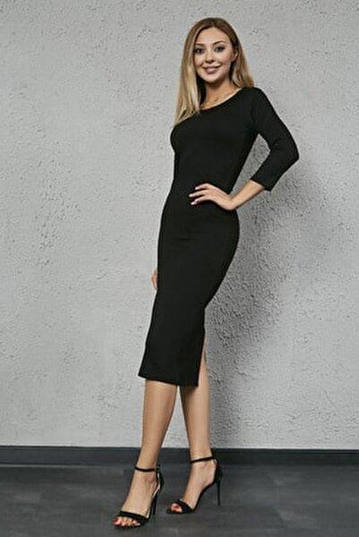 Kadın Siyah Uzun Kol Midi Kalem Elbise