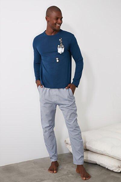 TRENDYOL MAN Mavi Çizgili Dokuma Pijama Takımı THMAW21PT0384