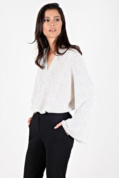 Spazio Kadın Ekru Divya V Yaka Salaş Puanlı  Bluz 30093712