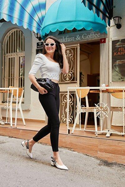 Kadın Siyah Dar Paça Yüksek Bel Pantolon