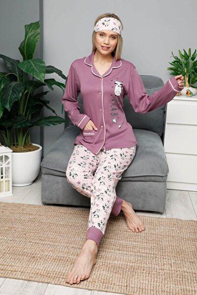 Mossta Kadın Pembe Kışlık Uzun Kol Düğmeli Pijama Takımı